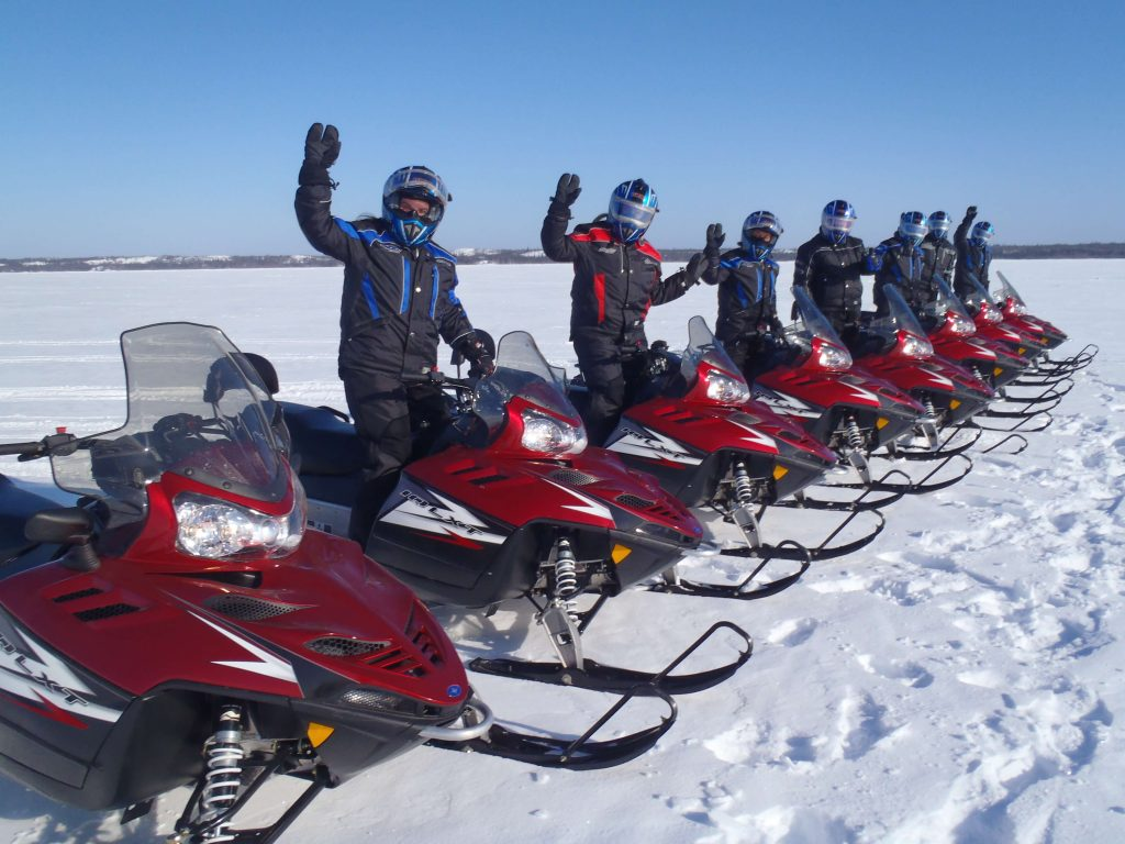 Snowmobilers ready for a trip