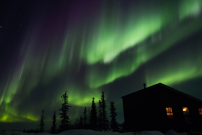 Aurora over lodge